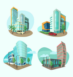 set cityscape icons vector image