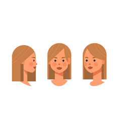 Set girl head avatar front side view female vector