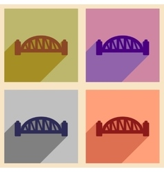 Set of flat icons with long shadow sydney harbour vector