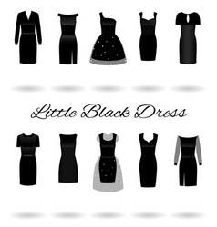 set of little black dresses in different styles vector image