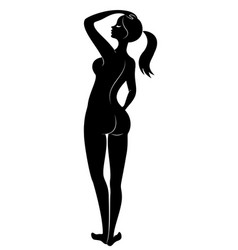 silhouette a sweet standing lady the girl has vector image