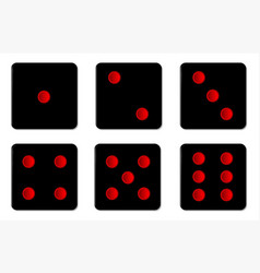 six black dice sides vector image