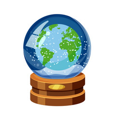 snow globe with earth world map snow cartoon vector image