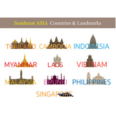 Southeast asia countries landmarks with text or vector
