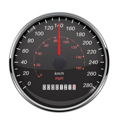 Speedometer kilometers and miles black car vector
