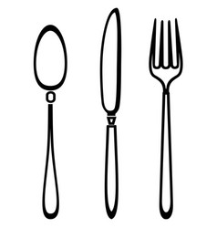 Spoon knife and fork outline set vector