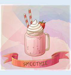 Strawberry smoothie dessert icon cartoon vector