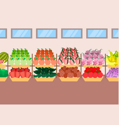 super market shelves fresh fruits vegetables vector image