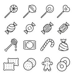 sweets and candy icon set on white background vector image