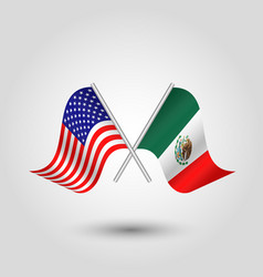 Two crossed american and mexican flags vector
