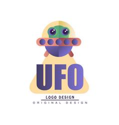 Ufo logo original design badge with alien vector