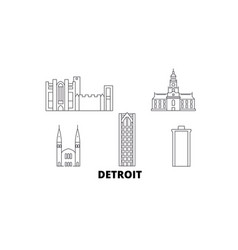 United states detroit line travel skyline set vector