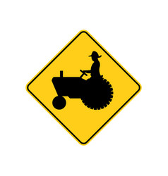 usa traffic road signs farm vehicle ahead or vector image