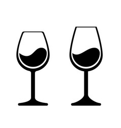 wine glass icons isolated wineglass silhouette vector image