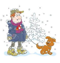 Winter walk with a dog vector