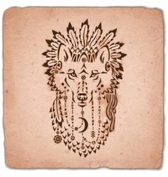 Wolf in war bonnet hand drawn animal vector image