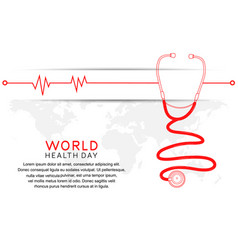 World health day with stethoscope and heartbeat vector