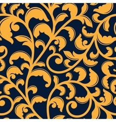 Yellow floral seamless pattern on blue vector image