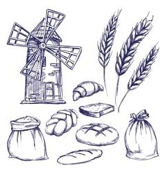 bread bakery set hand drawn llustration vector image