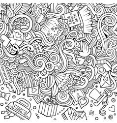 Cartoon cute doodles wedding frame vector image vector image