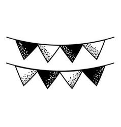 contour cute party flag decoration design vector image vector image
