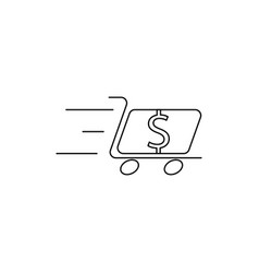 dollar cart line icon vector image