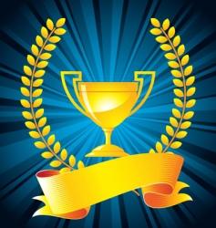 gold trophy with laurel wreath vector image vector image
