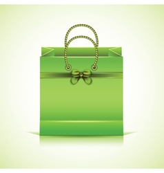 Green paper shopping bag vector image