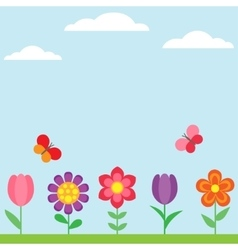 Spring flower background with butterflies vector image vector image