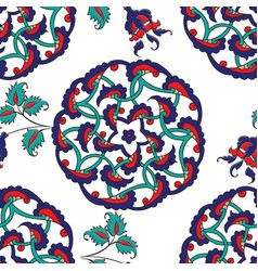 turkish iznik tile seamless islamic pattern with vector image vector image