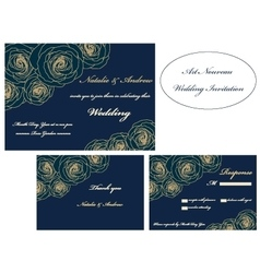 Art nouveau wedding invitation set vector