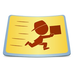 cartoon label fast delivery vector image