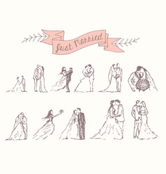drawn set bride groom decoration invitation vector image vector image