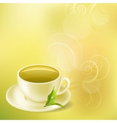 Pastel background with cup of green tea vector