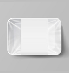 plastic food container with label white empty vector image vector image