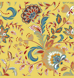 seamless pattern with fantasy flowers natural vector image vector image