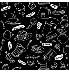 Tea party kitchen tools seamless pattern vector image vector image