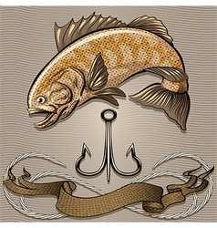 The fish and treble hook vector image