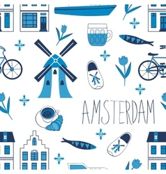 Colorful Amsterdam icons seamless pattern vector image