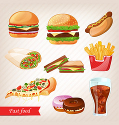 fast food colorful cartoon icon set vector image