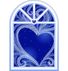 Heart on window vector image
