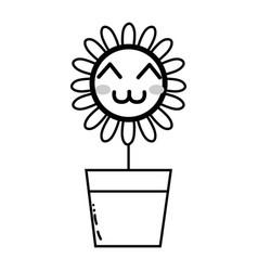 Line kawaii beauty and happy flower plant vector