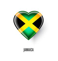 patriotic heart symbol with jamaica flag vector image