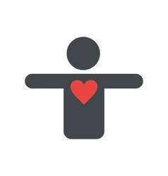 Silhouette of a man with a heart flat icon vector image