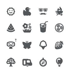 Summer vacation icon set vector image