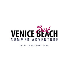 venice beach surfing emblem or logo vector image vector image