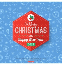 Christmas typographical label over blue seamless vector image vector image