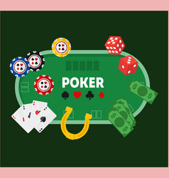 green poker table vector image