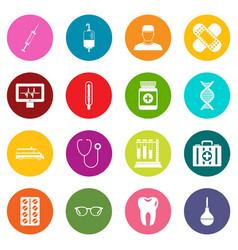medicine icons many colors set vector image vector image