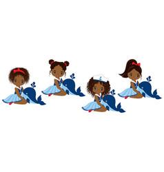 nautical little african american girls vector image